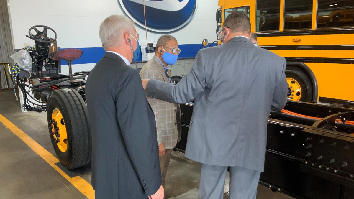 Congressman Sanford Bishop GA02 visits the Blue Bird Corporation factory in July 2021 where they produce electric school buses.